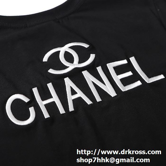 シャネル tシャツ メンズ コピー chanel 半袖 ホワイト トップス ロゴ プリント ストリート 快適な ゆったり カジュアル