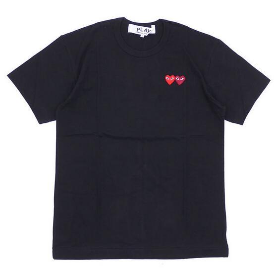 ダブルハートデザインPLAY comme des garcons プレイ コムデギャルソン メンズブラック半袖tシャツ 200-007273-051