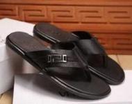 夏 男性トングサンダル メンズVERSACE ヴェルサーチ サンダル人気 靴 ブラックサンダル レザー おしゃれ_品質保証