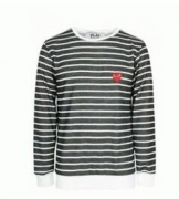 COMME des GARCONS  コム デ ギャルソン PLAY 人気 ボーダー 長袖Tシャツ コットンSMALL RED HEART メンズファッション_品質保証