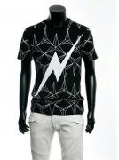 Neil Barrett ニールバレット Tシャツ 超激得高品質 フラッシュサンダー Tシャツ ブラック 雷半袖 コットン クルーネック
