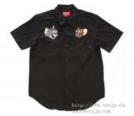 2017新品 SUPREME シュプリーム Tom&Jerry S/S Work Shirt 半袖シャツ コットン ブラック ブラウン ライトブルー カジュアル