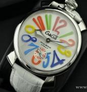 ガガミラノ メンズ 男性用腕時計 GaGa MILANO マヌアーレ48MM メンズ 5010.01S MANUALE 時計 ウォッチ 夜光効果 ホワイト レザーベルト