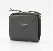 上品上質 BALENCIAGA バレンシアガ 371662DLQ0N1110 グレー PAPER 二つ折り財布 メンズ レザー 高品質 本革 レディース