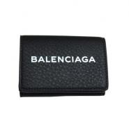 18SS新作 ウォレット ブラック バレンシアガ メンズ 財布 超激得高品質 BALENCIAGA 財布 ミニ レザー 黒 本革 ロゴプリント コンパクト