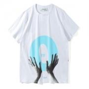 OFF-WHITE tシャツコーデ 2018新作 オフホワイト 半袖クルーネックTシャツ 人気 ハンドプリント クルーネック ブラック レディース ホワイト 白 メンズ
