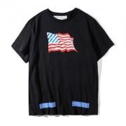 流行の注目ブランドOFF WHITEアメリカフラッグプリントオフホワイト Tシャツ半袖コットンクルーネックホワイトブラック春夏服人気トップス