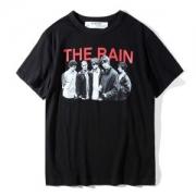 17SS人気春夏OFF WHITEオフホワイトTHE RAIN T-SHIRTコットンプリントメンズTシャツ半袖ブラック男女兼用トップスOMAA002S170011341088