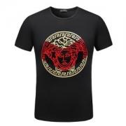 2018年春夏トップスVERSACE人気ヴェルサーチ半袖Tシャツ メンズMedusa Headプリントコットン綿ブラックホワイトブルールーネック