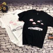人気ヴィトン コピーTシャツプリントLOUIS VUITTONトップス18春夏メンズ半袖クルーネックコットンホワイト上質ブラック服
