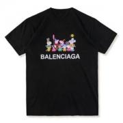 レディース半袖トップスバレンシアガBALENCIAGA通販Tシャツ デザインピーキープリントホワイトクルーネックメンズ黒コットン人気豚可愛い