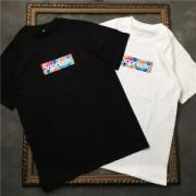 花火柄ボックスロゴSUPREME Tシャツ 安いシュプリームコットン綿半袖クルーネックブラックホワイトメンズ用ファッション