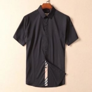 BURBERRY 半袖 シャツ 8003079-black コピー バーバリー トップス 伸縮性 ブランドロゴ 刺繍入り メンズ オシャレ 通販