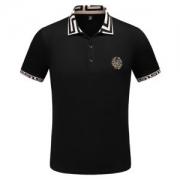 ヴェルサーチ メンズ ポロシャツ ストリートなどに大活躍 コピー VERSACE ブラック ホワイト シンプル コーデ 最安値