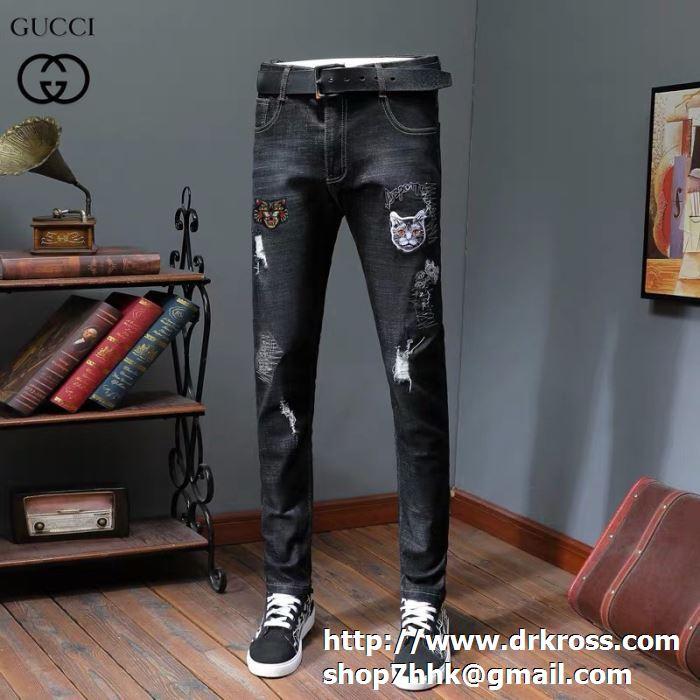 GUCCI グッチ ジーンズ サイズ 大きい デニム ロングジーンズ コピー ストレッチ バックパッチ メンズファッション 通販