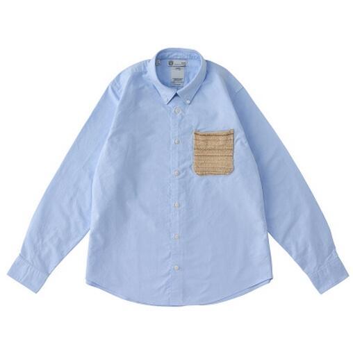 長袖シャツ 夏visvim ビズビム ホワイトライトブルーポケットシャツ コットン 綿 メンズファッション男性服シャツ