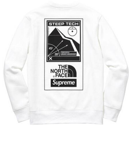 シュプリーム × ザ ノースフェイス 2016ss supreme/the north face steep tech crewneck  スウェット パーカー 長袖 コットン クルーネック ブラック レッド 5色可選択