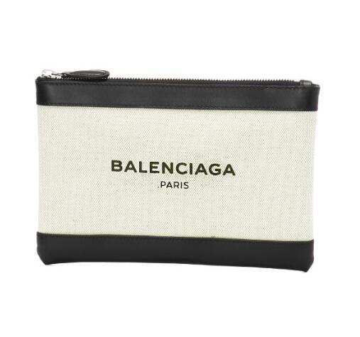 BALENCIAGA 2018新品新作 バレンシアガ バッグ レディース クラッチバッグ スモール NAVY CLIP レザー コットンキャンバス ネイビー クリップ 420406 AQ37N 1080