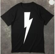 軽めのメランジ調Neil Barrett ニールバレット  クルーネック半袖Tシャツ ブラックホワイト_品質保証
