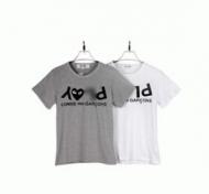 男女問わずコムデギャルソンtシャツ通販 COMME des GARCONS コットンGrey Play T-Shirt 半袖 グレー ホワイト_品質保証