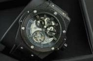 メンズ 時計 ウブロ スーパーコピーウォッチ キングパワー GENEVE Hublot 時計 ブラック レザー トゥールビヨン46MM_品質保証