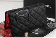 カーフスキン財布CHANEL シャネル 財布カンボンライン二つ折り財布 ブラック長財布 ウォレットA26717_品質保証