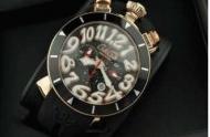 クオーツ時計ガガミラノメンズ腕時計gaga milano クロノ48MMメンズ 時計 CHRONO ラバーベルト ステンレス 日付表示 ゴールド_品質保証