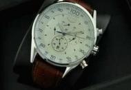 値下げ!タグホイヤー カレラTAG HEUER 腕時計 人気メンズ 時計7針クロノグラフ レザーベルトホワイト文字盤 自動巻き_品質保証