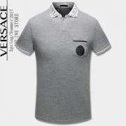 肌触りの気持ちい? 2色可選 半袖Tシャツ 2017春夏 VERSACE ヴェルサーチ 大好評_品質保証