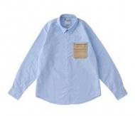長袖シャツ 夏VISVIM ビズビム ホワイトライトブルーポケットシャツ コットン 綿 メンズファッション男性服シャツ_品質保証