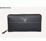 PRADA プラダ SAFFIANO TRIANG 三角エンブレムロゴブラック ラウンドファスナー財布 1ML506 QHH F0632 メンズ レディース長財布_品質保証