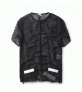 人気 新品OFF-WHITE オフホワイト tシャツ 半袖メンズ メッシュデザイン クルーネック ユニークデザイン 男性服_品質保証