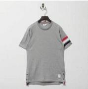 セール安い 品質保証THOM BROWNE トムブラウン tシャツ 半袖メンズ コットン グレー 高品質 無地Tシャツ ボタン_品質保証