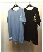 春夏メンズファッションOFF-WHITE オフホワイト スーパーコピーメンズ Tシャツ半袖 ロゴ入り 切り替え コットン クルーネックブラック ブルー_品質保証