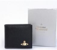 VIVIENNE WESTWOOD ヴィヴィアン 財布 二つ折り ブラック レザー 人気 短財布 本革レディースウォレット ゴールドロゴ_品質保証