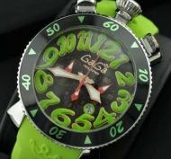 GaGa MILANO クロノ48MM 6054.2 CHRONO 腕時計 ガガミラノ メンズ 時計 ウォッチ ブラック グリーン 夜光効果 メンズ 男性用腕時計