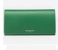 新作 BALENCIAGA 長財布 バレンシアガ レザー レディース 392123DLK0N3645 エッセンシャル マニー スナップオープニングフラップトップ ロングウォレット グリーン