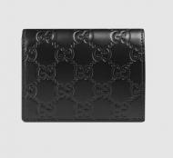 GUCCI グッチ シグネチャー レザー カードケース レディース 財布 410120 CWC1G 1000 シマ 二つ折財布 ブラック 146223A0V1R1000 洗練されたデザイン