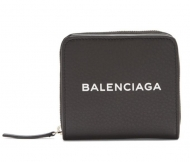 2018春夏 バレンシアガ BALENCIAGA 財布 ミニ ブラック レザー ロゴ ジップ コンパクト ウォレット 新作入荷人気 男女兼用