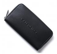 バレンシアガ 財布 BALENCIAGA 人気 長財布 型押しロゴ ブラック メンズ ウォレットラウンドファスナー レザー 本革 高品質 ロングウォレット