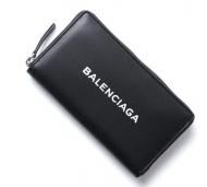 高級 バレンシアガ 財布 BALENCIAGA ファスナー長財布 505052DLQHN1060 レザー 財布 本革 ブラック レディース ロング ウォレット 黒 ロゴプリント