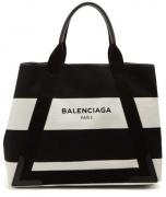 バレンシアガ バッグ レディース ネイビー カバ M トートバッグ BALENCIAGA コットンキャンバス 339936K9H3N1085 カーフスキン ブラック ボーダー 大人気