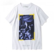 半袖Tシャツ 2018新作 OFF-WHITE 大人気 Tシャツ メンズ OMAA014F171850151001 オフホワイト DIAG CARAVAGGIO レディース コットン 白 ブラック プリント