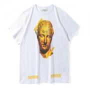 メンズ tシャツ ブランド 人気 彫像プリント OFF-WHITE オフホワイト 半袖Tシャツ クルーネック黒 ブラック ホワイト コットン 綿 カジュアル 快適 新品2018