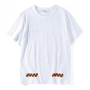 大人気新作OFF-WHITEオフホワイトプリントTシャツCHECKER TEE SSホワイトブラックコットンラウンドネック半袖メンズストレートヘムOMAA002F171850230719
