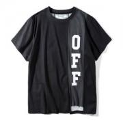 Tシャツ ブラッドOFF WHITE2018年春夏最旬切り替えデザインクルーネックオフホワイト半袖コットンブラック黒トップス高品質