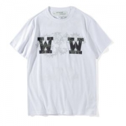 OFF-WHITE 新作夏 ダブルW オフホワイト 通販 メンズ 半袖Tシャツ クルーネック コットン プリント カジュアル レディース ブラック ホワイト