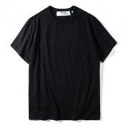 オフホワイト 通販 Tシャツ ブラック OFF-WHITE コットン メンズ 人気新品 TShirt半袖 メンズ トップス 男性用 クルーネック無地 HOT100%新品