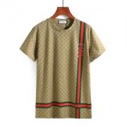 グッチ Tシャツ メンズ  半袖 グリーン レッドボーダー GUCCI  ダブルG柄 メンズ  Tシャツ 爆買いコットン 新作登場  Uネック黒 ブラウン 蛇 ロゴ