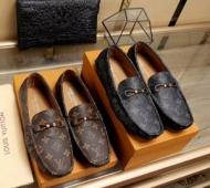 2018年春夏新作LOUIS VUITTONカジュアルシューズヴィトン コピーモノグラムブラウンローファーメンズグレーレザー靴男性用人気